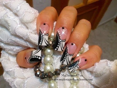 Easy Abstract Black And White Nail Art Design Tutorial