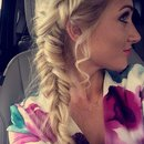 Dutch fishtail braid and haircolor by Christy Farabaugh