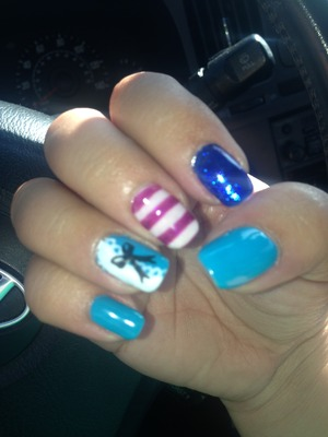 Alice nails in blue and purple with bow and lace