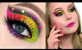 Neon Rainbow Makeup Tutorial - Melt Radioactive Stack