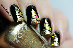 Illamasqua Boosh with Zoya Ziv and hologrphic gold glitter.