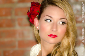 Face shot. Hair/makeup/real red rose clips by me