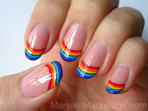 the happiest of nails! http://www.maryammaquillage.com/2012/03/happy-nails-rainbow-tips.html