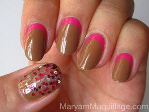 Neutral with a twist. For tutorial and products links, etc. visit my latest blog post: http://www.maryammaquillage.com/2012/05/choco-w-raspberry-filling-nails.html