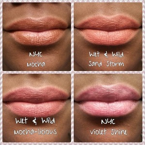 Four neutral colored lipstick swatches from Wet N Wild and NYC.