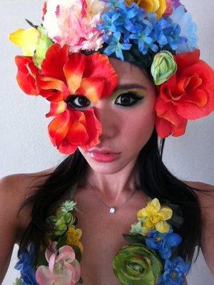 My attempt of Manwomanfilm's flower garden make-up.