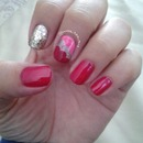 cherry pink/red nails