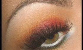 """Fire"" Red & Orange Smoky eye make-up tutorial using GDE"