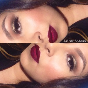 Soft gold smokey eye with wine Color lipstick good for the holidays