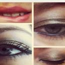 Gold and brown smoky eye, nude lip