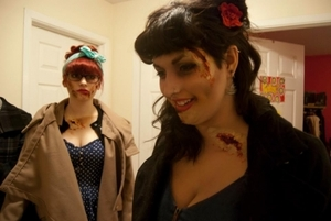 More zombie pin-up, with my best friend in the background, also done by me. (First attempt with liquid latex! All wounds made from scratch :))