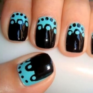 simple party nail design in black and blue