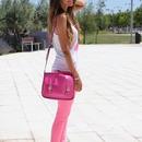 Buckle Straped Rose Shoulder Bag