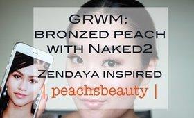 GRWM   Zendaya Inspired Bronzed Peach with Naked2   2015 Oscars   peachsbeauty