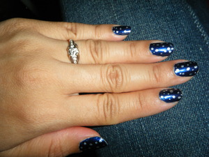 Blue with silver dots