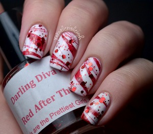 Candy Cane water marble with glitter top coat www.xoxoalexisleigh.com/2012/12/12docc-candy-canes.htmlhttp://www.xoxoalexisleigh.com/2012/12/christmas-mosaic.html