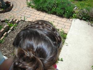 Maiden braids with messy bun