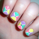 Colour Block Cross nails.