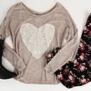 Heart sweater w/ Tribal print