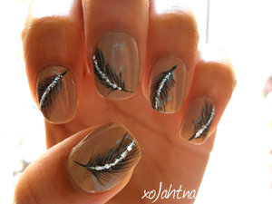 Tutorial here: http://www.beautylish.com/v/rrvmyw/sparkling-feather-nails