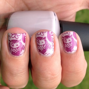Base- OPI Steady As She Rose, Stamp- SH Pronto Purple