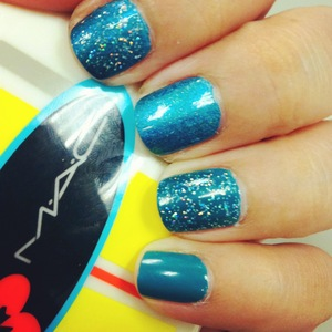 New Money by Ginger+Liz, China Glaze Techno Teal & glitter by China Glaze.