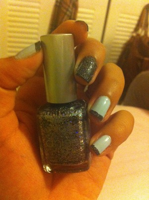 Blue and black manicure with black 3-d nail polish