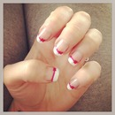 French tip with pink bow