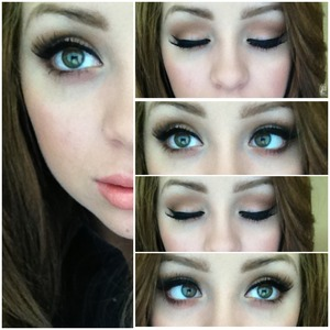 "My favorite look of allllll time, in 8 easy steps!  Used Makeup Geek and MAC eyeshadows!  1. Prime with urban decay primer potion. 2. MUG ""Beaches and Cream"" all over the lid.  3. MUG ""Creme Brulee"" into crease and build up for a gorgeous and warm transition color 4. Darken with ""Espresso"", only the SMALLEST amount on the outer v than blend out with a clean tapered blending brush 5. With a pencil brush, add ""creme brûlée"" underneath your eyes. Than closer to the lower lash line, add ""espresso"" to darken it up. 6. Line your eyes. I winged my liner out with my favorite liner, Sephora Long Lasting Liquid Eyeliner, only $12!  7. Add lashes. I added my favorite pair, Ardell 20 Demi Wispies. 8. Viola! All done. This is my go to look when I want to do my makeup. It compliments most skin tones and is very easy to do!"