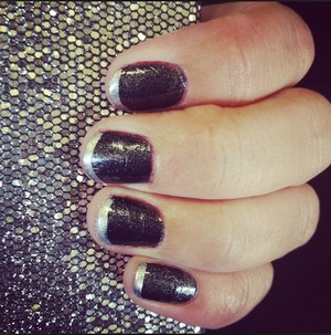 Shimmer black polish with Silver tips