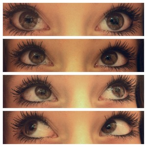 I used : Covergirl Nature luxe Mascara & Revlon Color Stay Liquid Eyeliner.