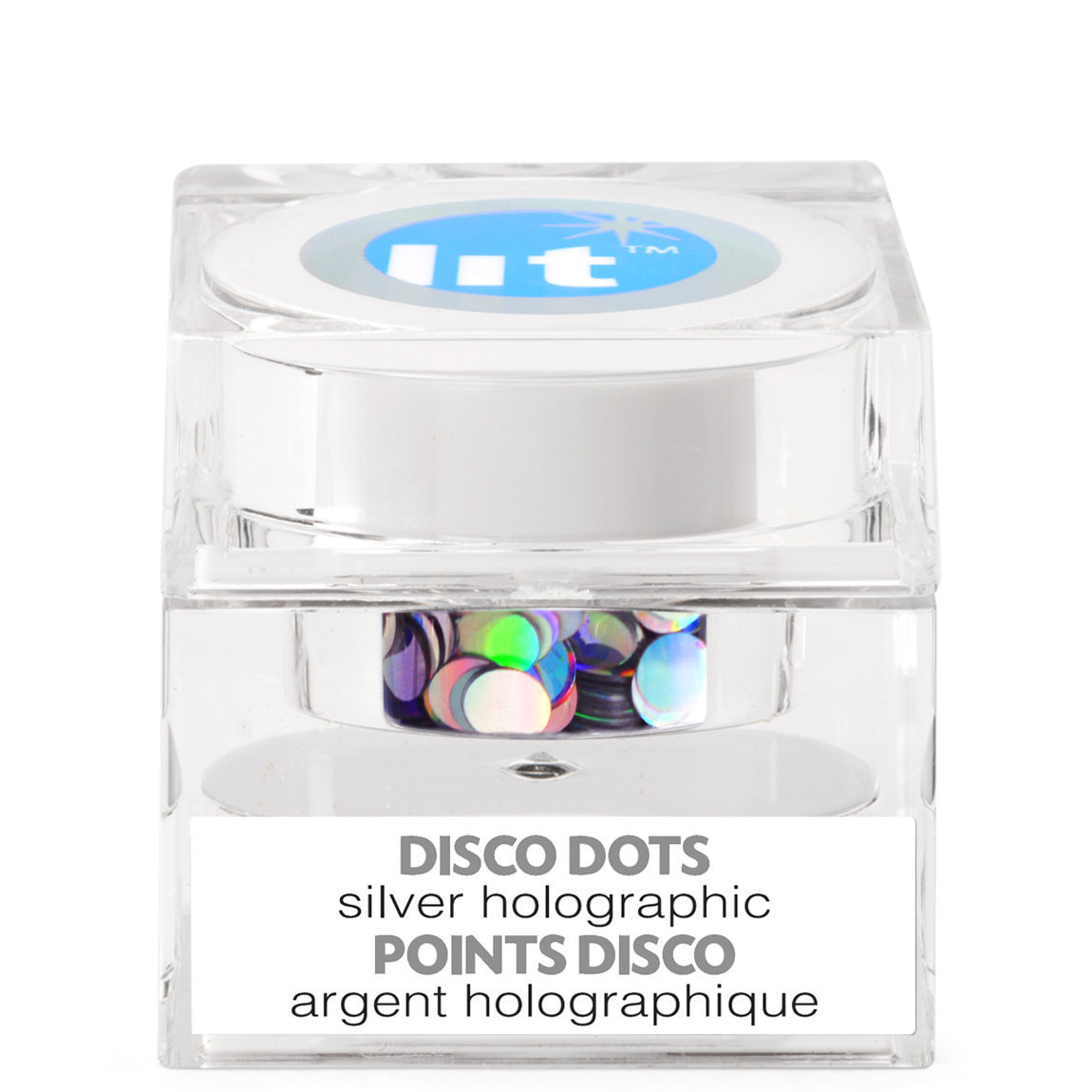 Lit Cosmetics Holographic Glitter Pigment Disco Dots Silver S3 alternative view 1 - product swatch.