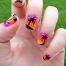 Palm tree/sunset nails