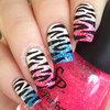 70's Inspired Zebra Nails