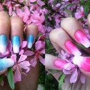 Spring blue and pink gradient nails