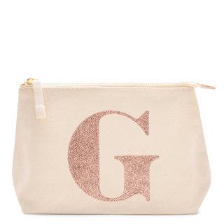 Rose Gold Glitter Initial Makeup Bag Letter G