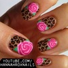 Leopard and Roses Nail Art