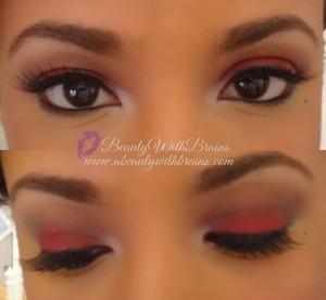 A festive look for the holidays featuring an unconventional color: red! I think red is the colorthat I would least likely use on my eyes but I really like how this came out. I was inspired by a photo I saw on Beautylish and I thought this would be great for a holiday party. Enjoy!