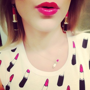 Hello! I went shopping today and found this beautiful stylish shirt and earrings and necklace! Had to put on some red lipstick to match! Hope you enjoy!