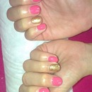 Progel with bourjois topping on feature nail