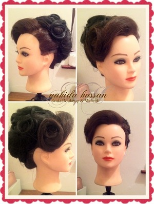 Vintage updo using extension pieces and a lot of backbrushing :)