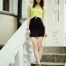 Color Block Cut-out Twined Slim Dress