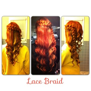 I did this lace braid with curls to my cousin's hair whose hair I just dyed red with blonde highlights.