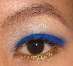 Bright royal blue with a pop of gold