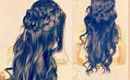 ★BOHO SPRING  LONG HAIRSTYLES| EASY CURLY HALF-UPDO WRAP-AROUND BRAID FOR SCHOOL HAIR TUTORIAL PLAIT