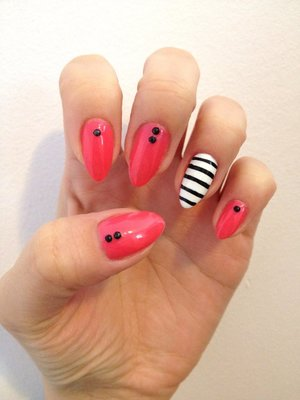 Natural stiletto nails with hand painted stripes