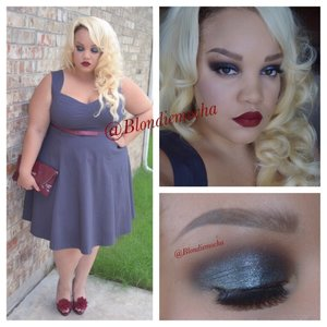 """Follow me @Blondiemocha on Instagram for more looks!!  I began by using Urban Decay eyeshadow primer as a base.   Eyes -  Outré (Mac Cosmetics, upper eye)  Folie (Mac Cosmetics, Crease)  Soot and Stars (Sugarpill Cold Chemistry Palette, outer corners of eye)  Silver Shoes (Tarina Taratino Emerald Pretty Palette, inner eye) Enlightening Pressed Pigment (Mac Cosmetics, all over lid)   Brows - Anastasia Beverly Hill Brow Wiz in Soft Brown.   Lashes - Red Cherry 102  Lips - Velveteen lipstick in """"Wicked"""" by Limecrime    Clothing -  Outfit is from Torrid"""