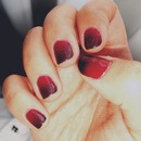 Red & Metallic black ombre nails