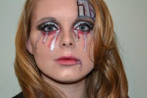 Cyborg make up for Halloween or dress up.