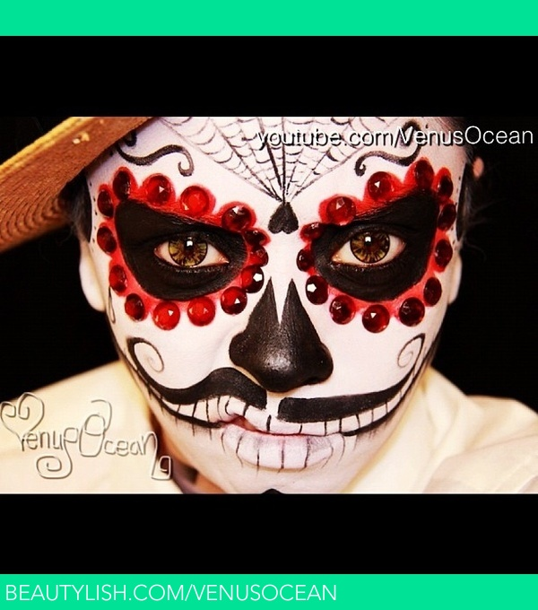 Men's dia de Los muertos (Day of the dead) face painting ...